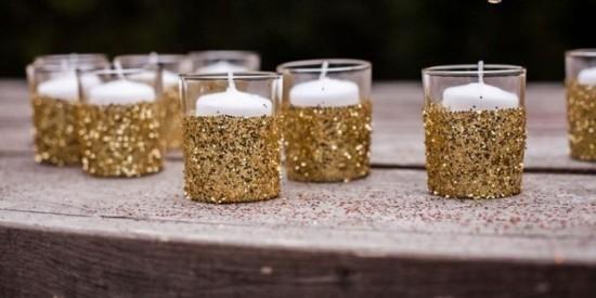 windlichter basteln mit gold glitter