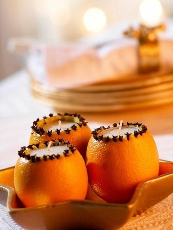 windlichter basteln mit orangen und gewürznelken