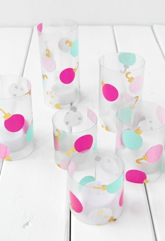 windlichter basteln mit papier bekleben zu weihnachten