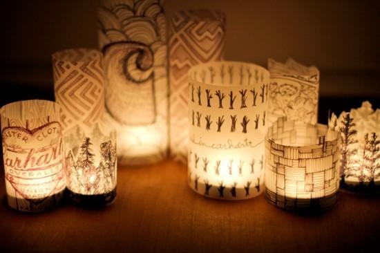 windlichter basten mit seidenpapier prints