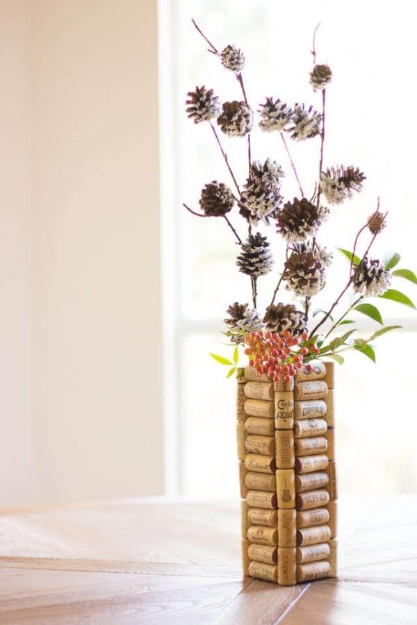winterliche vase basteln mit korken