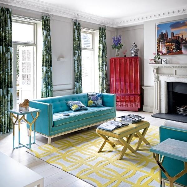 wohnzimmer gestalten trendfarben gelb und blau