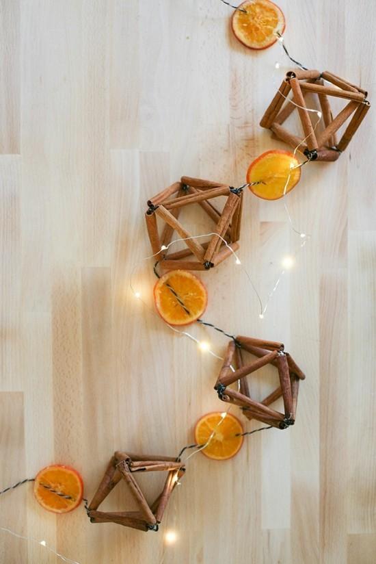 zimt orangen lichterkette girlande basteln