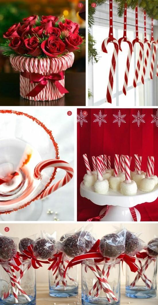 zuckerstangen deko ideen weihnachtsdeko