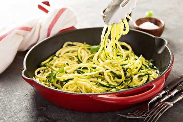Essen ohne Kohlenhydrate Zucchini wie Nudeln in der Pfanne anbraten mit Basilikum Blättern servieren