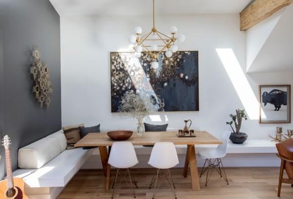 Frühstücksecken gemütliche Atmosphäre moderne Raumgestaltung viel Holz Neu und Alt Hand in Hand