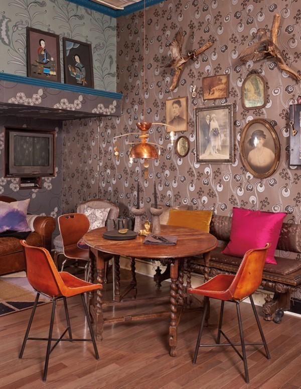 Frühstücksecken in Vintagestil Vintage Möbel Bilder Wandschmuck und exzentrische Tapeten