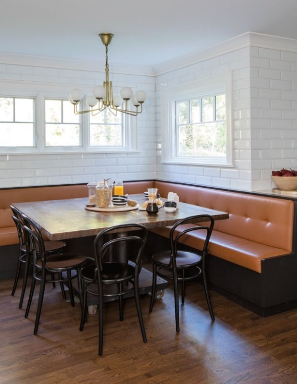 Frühstücksecken schöne Raumgestaltung Ecksofa Leder ideen