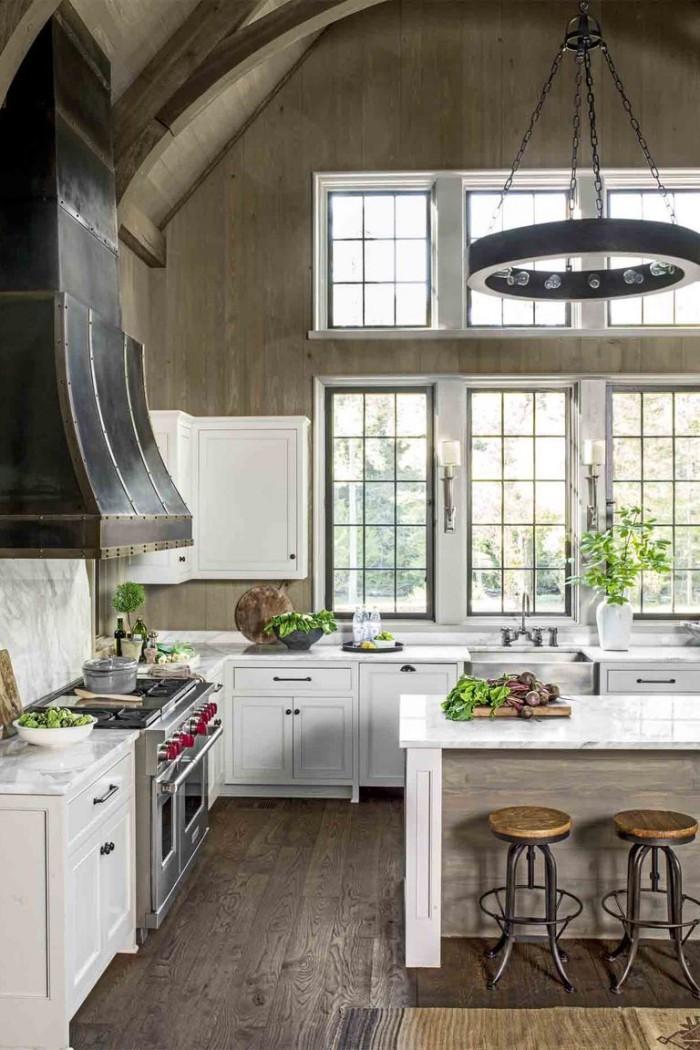 Kücheninsel Marmoroberflächen Küche im Retro-Stil