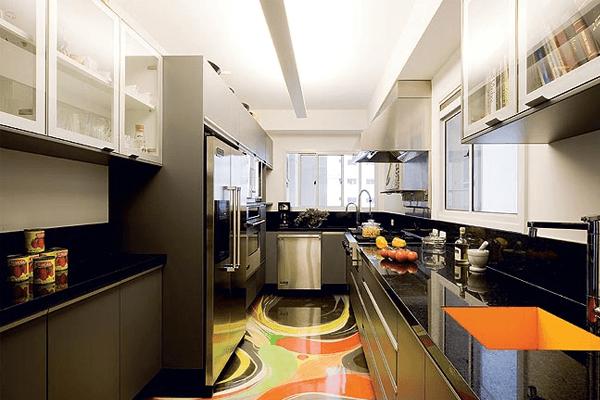 Küchentrends bunte bodengestaltung
