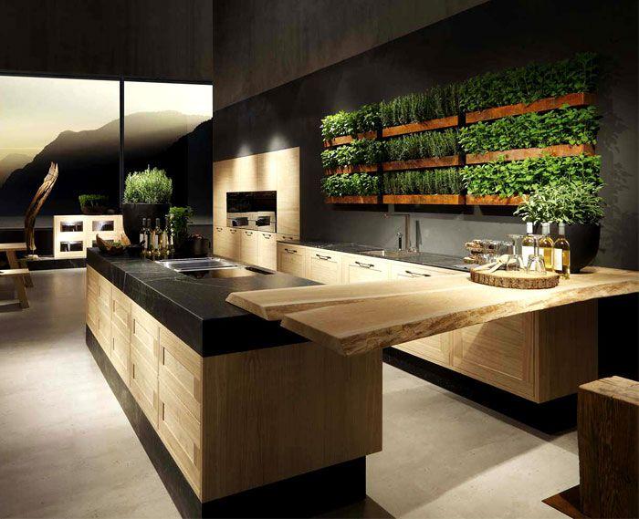 Küchentrends grüne wand mit pflanzen