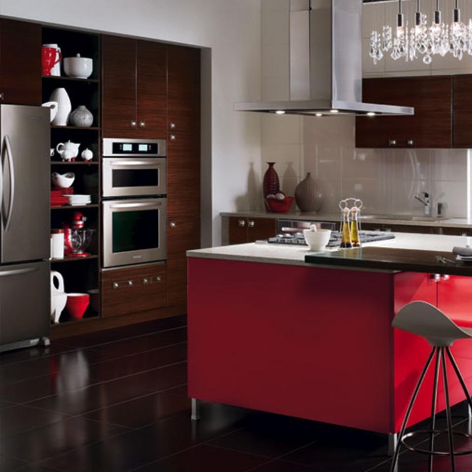 Küchentrends tolle rote kücheninsel