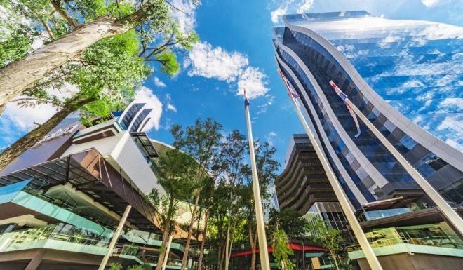 Reiseziele moderne Architektur Zwillingstürme in Asuncion Paraguay