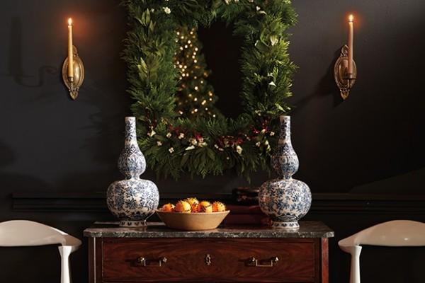 Weihnachtskranz in rechteckiger Form stilvoll opulent