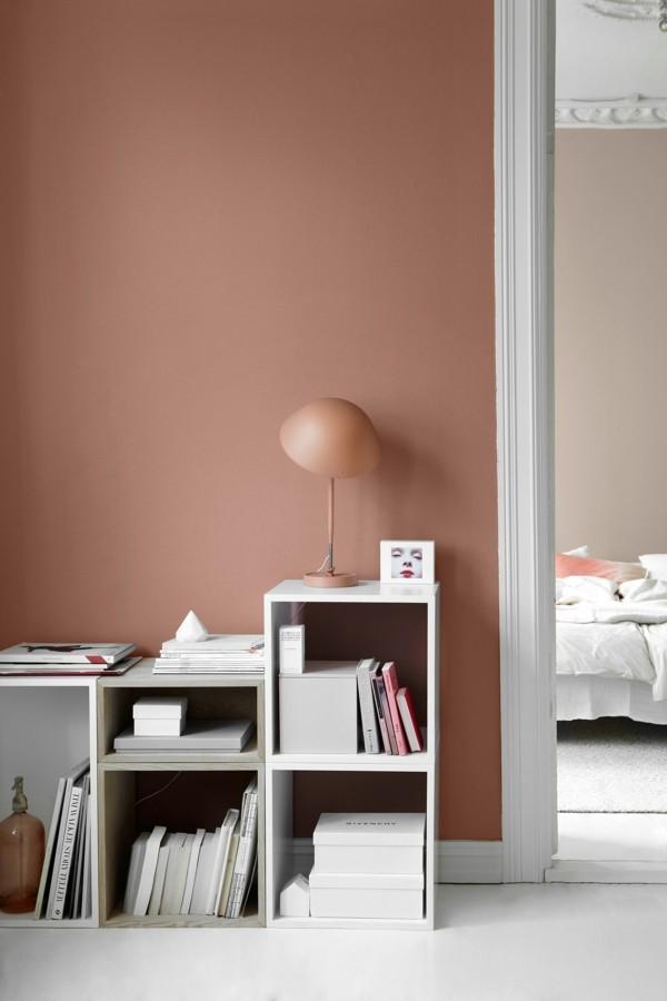 apricot wandfarben ideen wohnzimmer