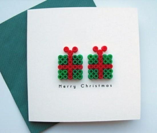 bügelperlen weihnachtskarten basteln mit kindern
