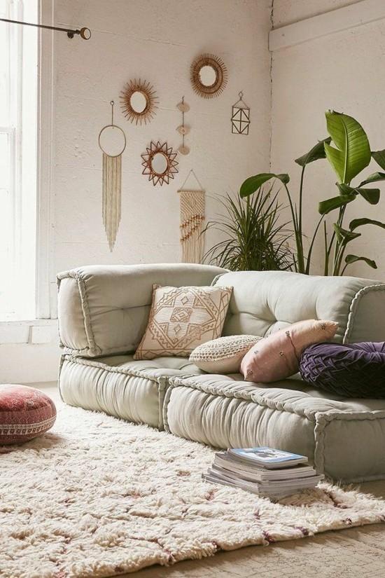 bodenkissen einrichtungsideen sofa