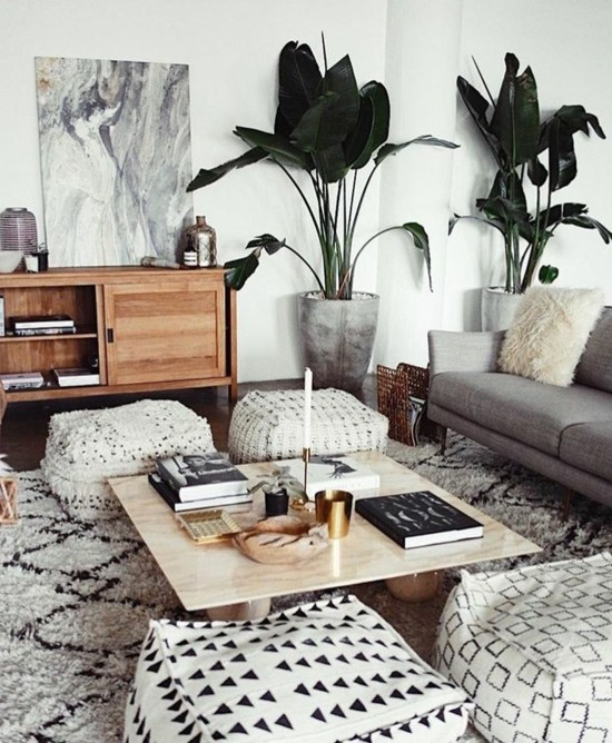 floor cushions furnishing ideas living room boho scandi