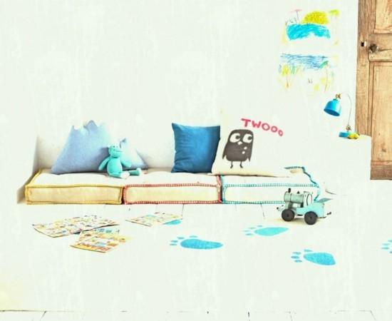 Set up floor cushions for children