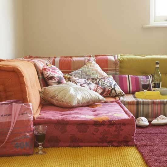 bohemian style floor cushion sofa