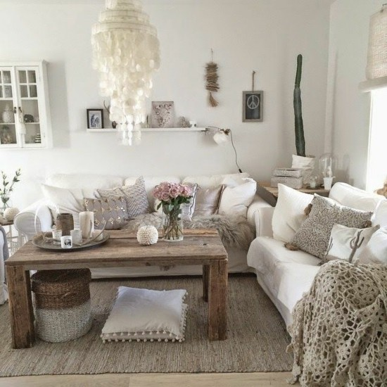 boho style living room furnishing ideas scandi