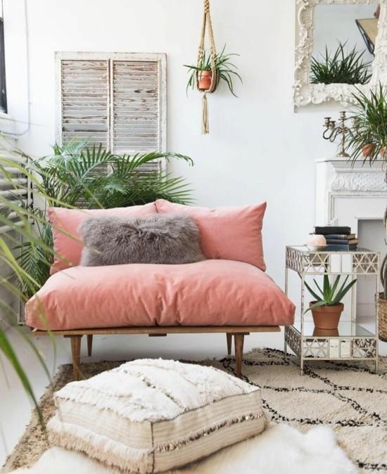 boho style living room set up floor cushion bench