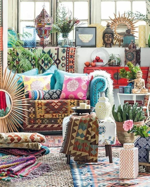 bunte teppiche wohnzimmer orientalisch einrichten