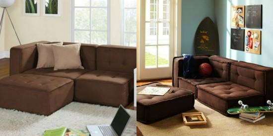 couch brown with floor cushions