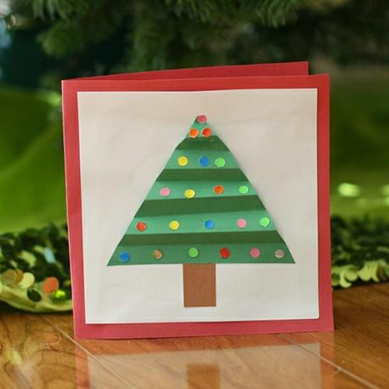 einfache weihnachtskarten basteln mit kindern tannenbaum