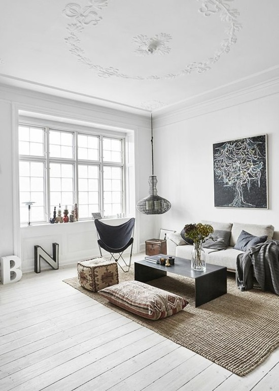 furnishing ideas living room in the scandi boho style