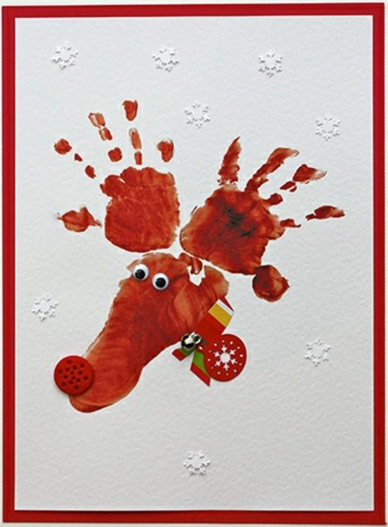 elch motiv weihnachtskarten basteln mit kindern handabdruck