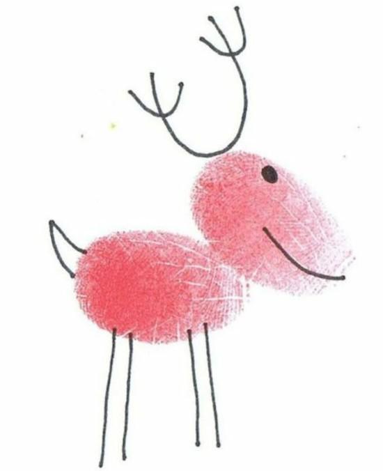 elch weihnachtskarten basteln mit kindern fingerprint