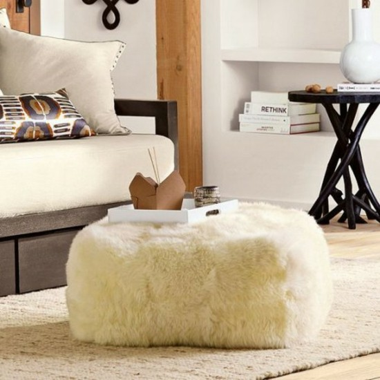 Set up fur cushions floor scandinavian