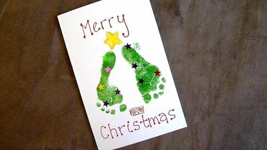 fußabdruck ideen weihnachtskarten basteln mit kindern