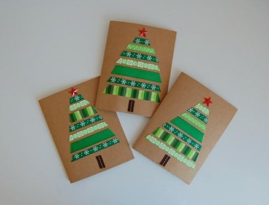 geschenkbänder grüne tannenbäume weihnachtskarten basteln