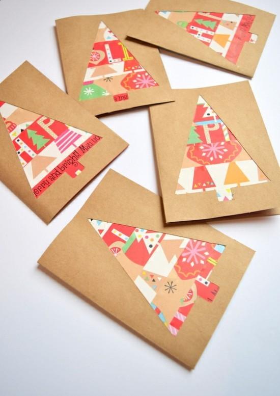 geschenkpapier tannenbäume weihnachtskarten basteln mit kindern