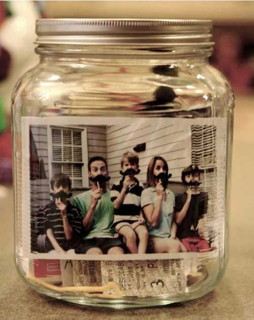 glas mit tollem familien foto geschenke