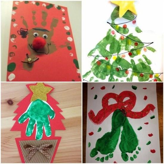 handabdruck ideen weihnachtskarten basteln mit kindern