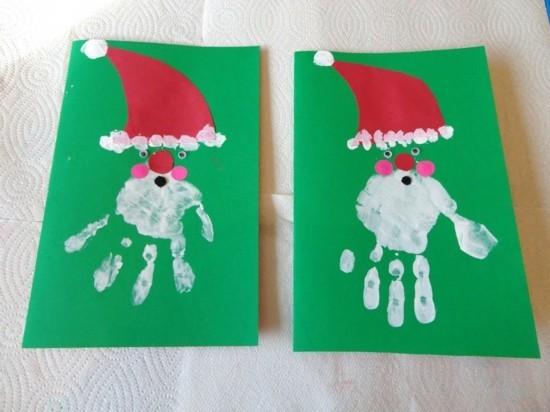 handdruck weihnachtskarten basteln mit kindern