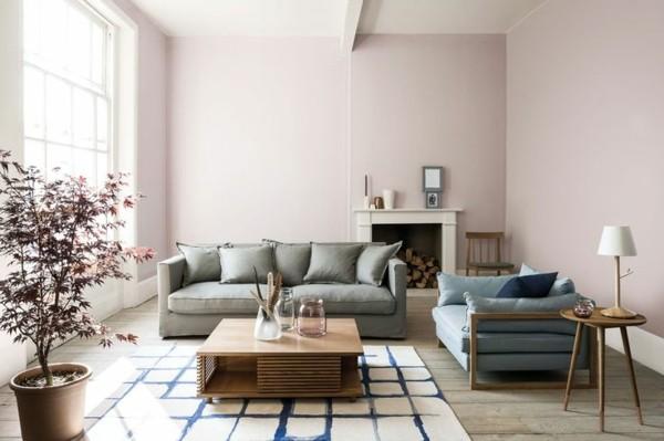helles rosa wandfarben ideen wohnzimmer