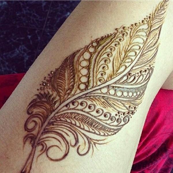 henna tattoo ideen feder