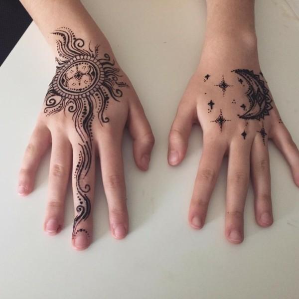 henna tattoo ideen mondsichel