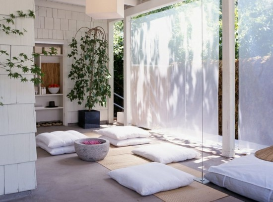set up japanese with floor cushions white