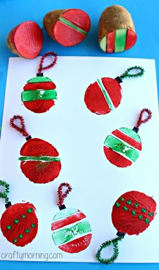 kartoffel stempeln weihnachtskarten basteln mit kindern