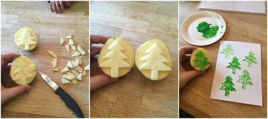 kartoffel weihnachtskarten basteln tannenbaum