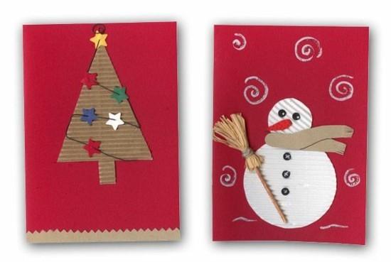 karton weihnachtskarten basteln weihnachtsbaum schneemann