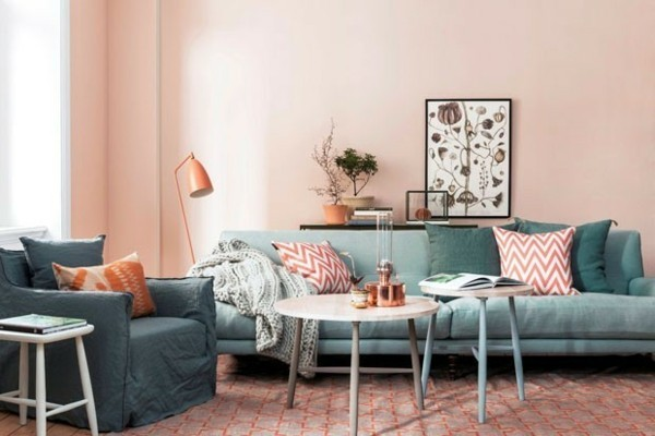 living coral pantone 2019 wohnzimmer wandfarben ideen