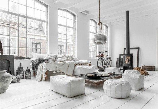 loft living room furnishing ideas in boho scandi style
