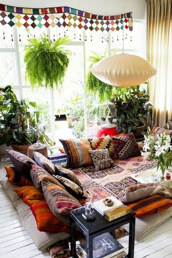 lounge einrichten bodenkisseen wohnzimmer