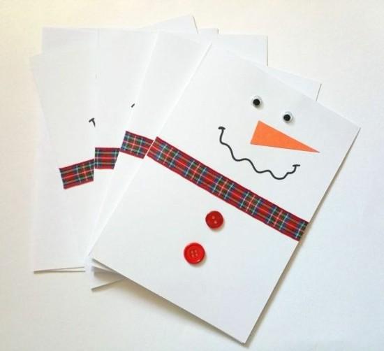minimalistische schneemann weihnachtskarten basteln